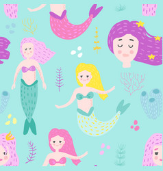 mermaids seamless pattern in childish style vector image