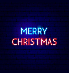 merry christmas neon sign vector image