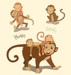 Monkey family mom with the cute children vector