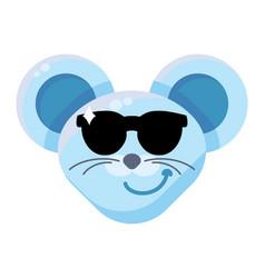 Mouse face cool boy emoticon sticker vector