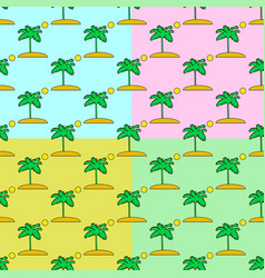 palm tree seamless pattern set on a colors vector image