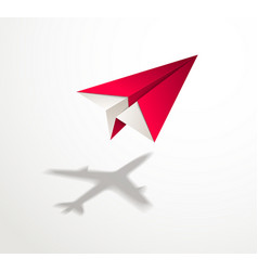 Paper plane casting shadow jet airliner vector