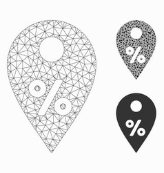 Percent map marker mesh wire frame model vector