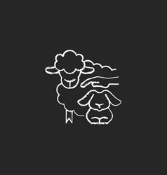 Petting zoo chalk white icon on dark background vector
