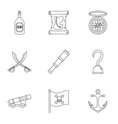 pirates icon set outline style vector image