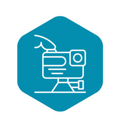 Play action camera icon outline style vector
