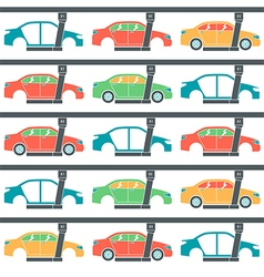 Production line of cars pattern vector
