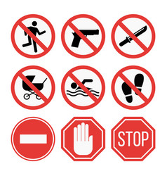 Prohibition signs set safety information vector