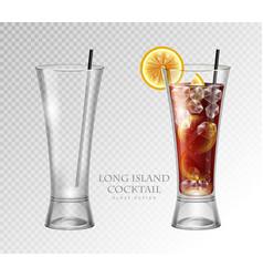 Realistic cocktail long island ice tea vector