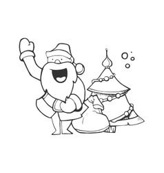 Santa claus carrying sack vector