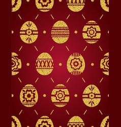 seamless pattern of golden easter eggs isolated vector image