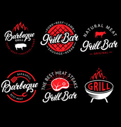 set grill bar and bbq labels in retro vector image