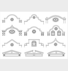 Set of silhouettes of classical facades vector