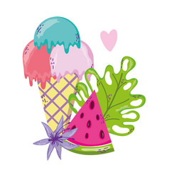 Set of summer cartoons vector
