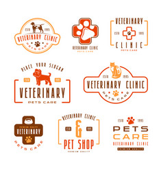 Set of veterinary clinic labels vector
