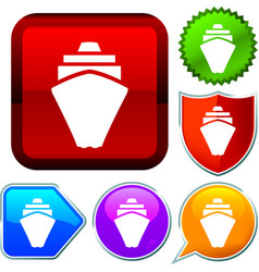 Set shiny icon series on buttons cruise vector