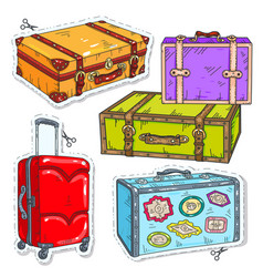 Set travel bags retro suitcase with belt vector