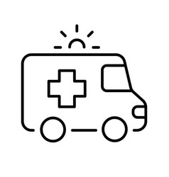 simple monochrome ambulance icon medical vector image