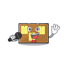 Singing bulletin board isolated in mascot vector