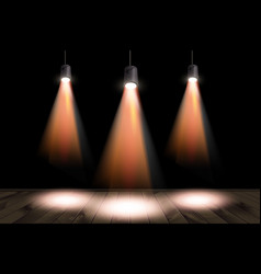 spotlights and a wooden stage vector image