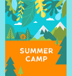 Summer camp children vacation poster and flyer vector