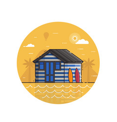 surfing beach hut seaside icon in line art vector image