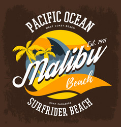 Surfrider beach t-shirt print or label vector