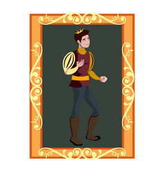 the portrait of prince charming in golden frame vector image