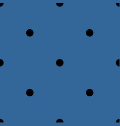 Tile pattern black polka dots on blue background vector