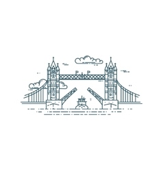Tower Bridge in London raised vector