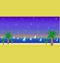 Tropical landscape palm trees on sand yachts vector