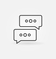 two speech bubbles outline concept icon or vector image