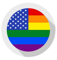 united states lgbt flag round shape icon on white vector image