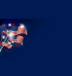 usa flag with fireworks design on blue background vector image