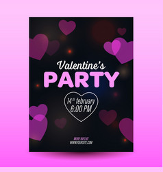 valrntines day flyer with red background layout vector image