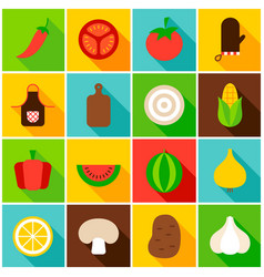 Vegetables colorful icons vector