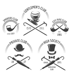 Vintage gentlemen club emblem set vector image