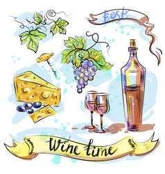 Watercolor best wine time concept sketch vector