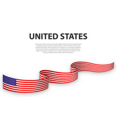 Waving ribbon or banner with flag united states vector