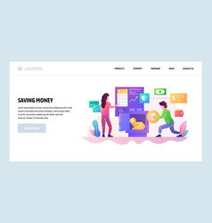 Web site design template saving money in vector