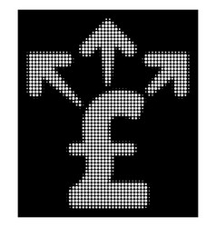 White halftone spend pound money icon vector