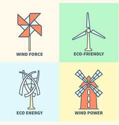 Windmill linear logo set eco friendly wind force vector