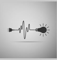 wire plug and light bulb icon on grey background vector image