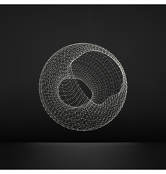 Wireframe object with lines and dots abstract 3d vector