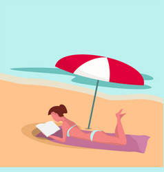 woman on beach under umbrella reads book vector image