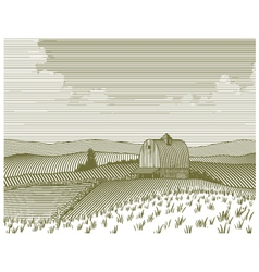 Woodcut barn and farm vector