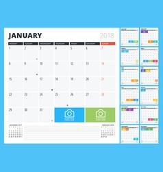 calendar planner for 2018 year print design vector image