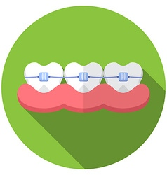 Flat design modern of dental bracers icon with vector image vector image