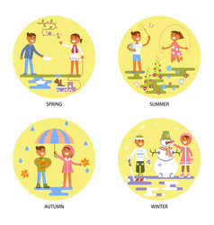 Four seasons set with babies vector