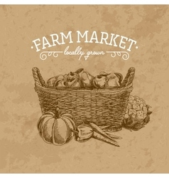 hand drawn farm market vector image